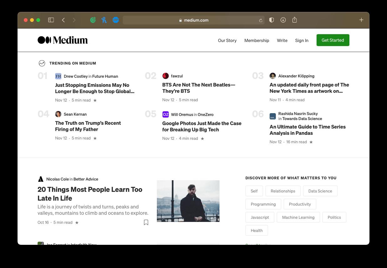 a screenshot of Medium's homepage, an online publishing platform