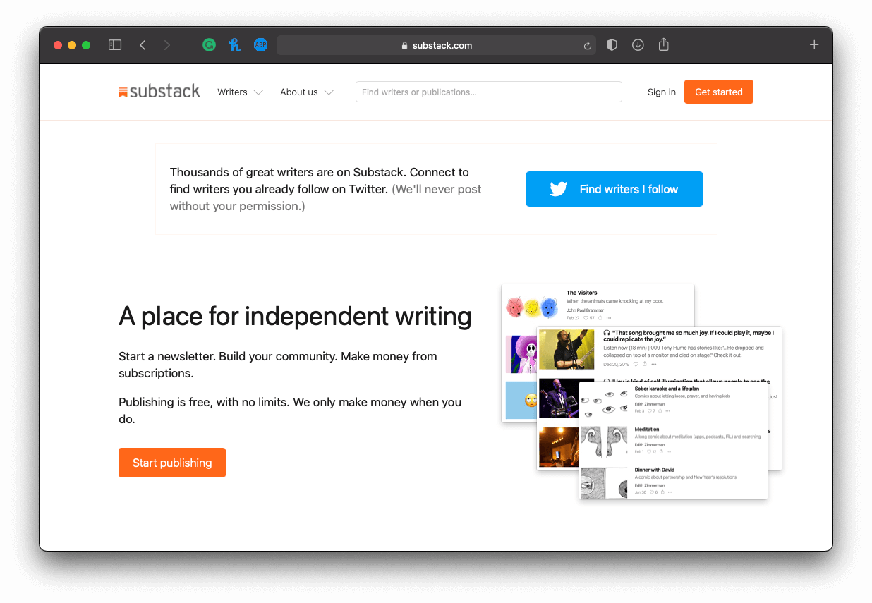 a screenshot of Substack's homepage, an email subscription tool for independent writers