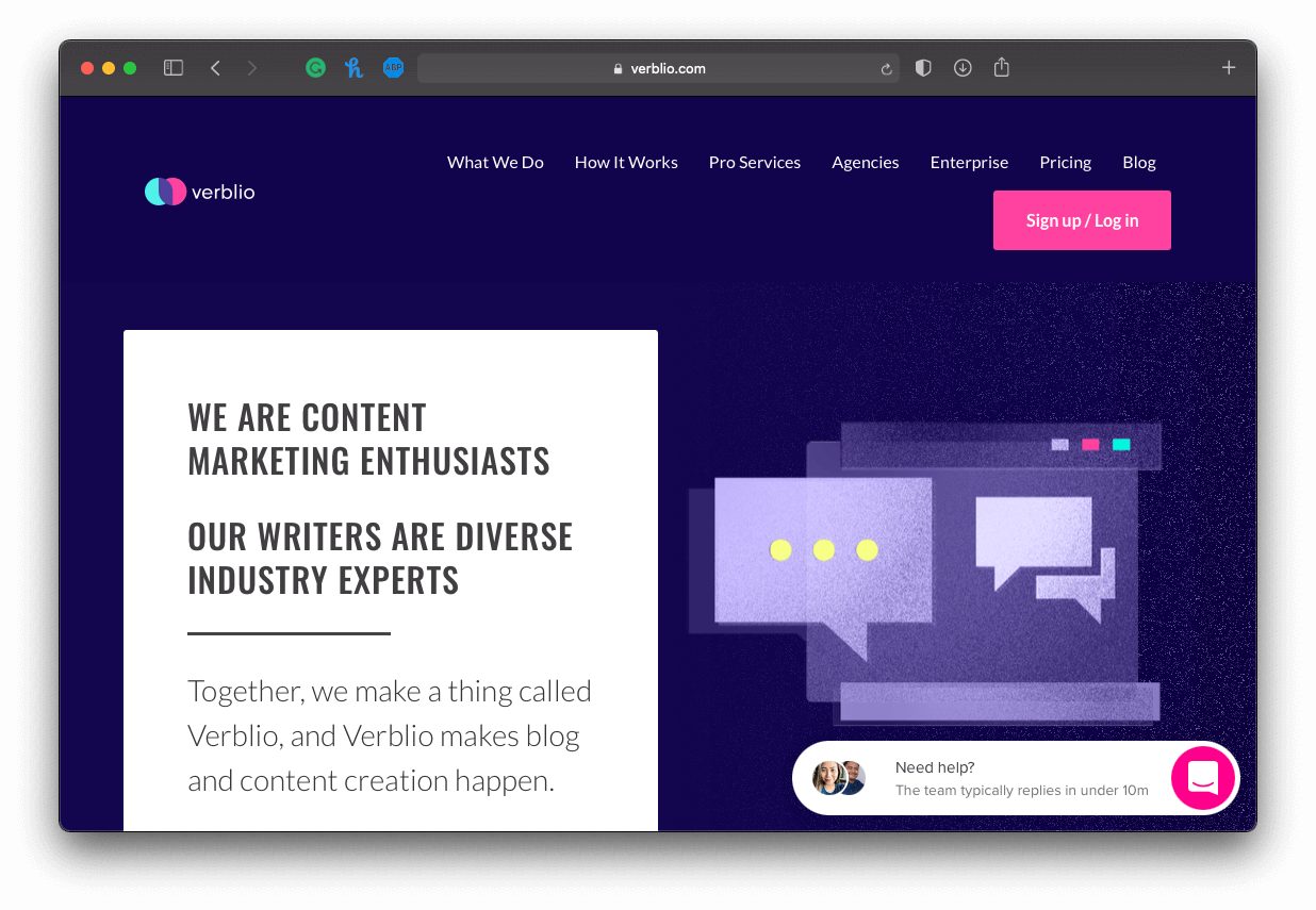a screenshot of Verblio's homepage, a content production platform
