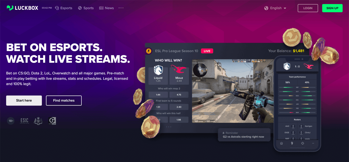 Example of an app for esports betting
