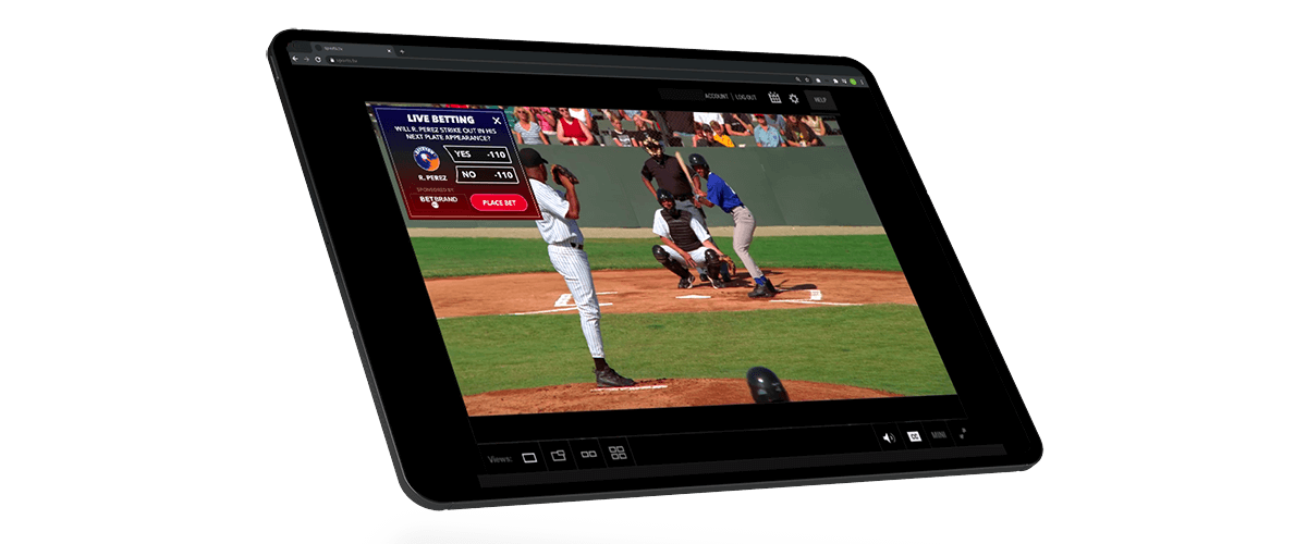 Example of a live stream in sports betting